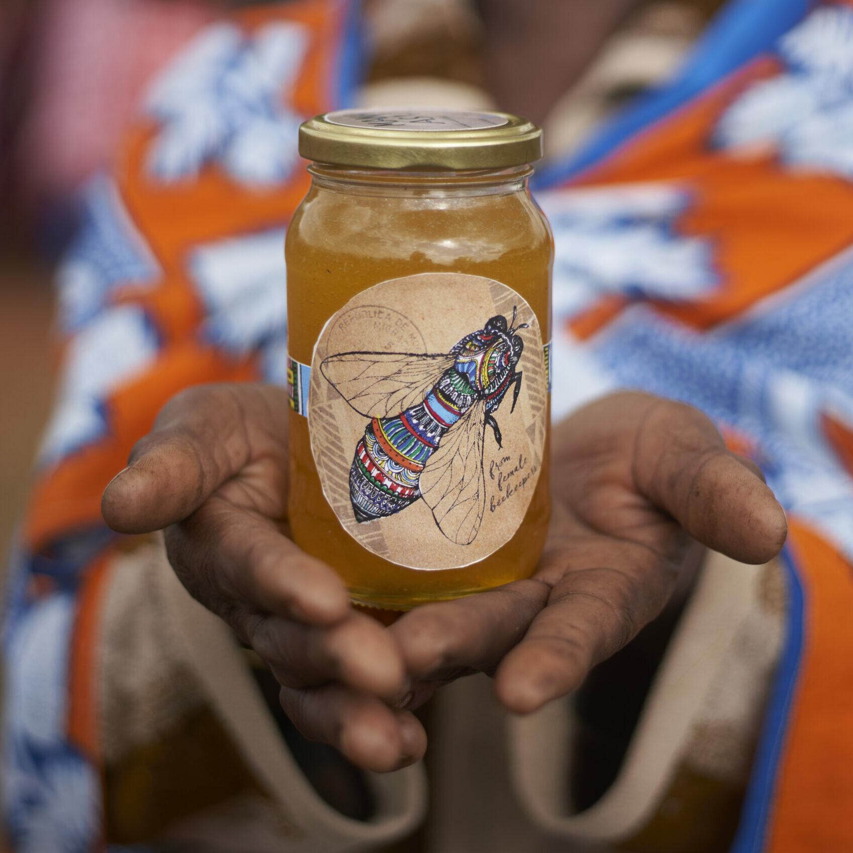 A jar of Mama Asali honey from Tanzania