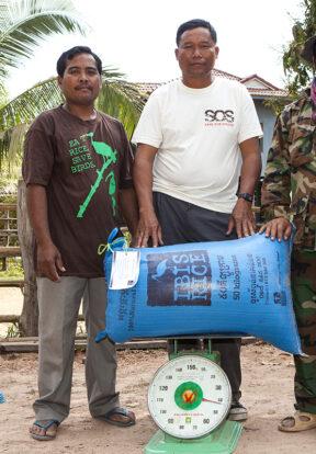 Community members prepare to market ibis friendly rice in Cambodia