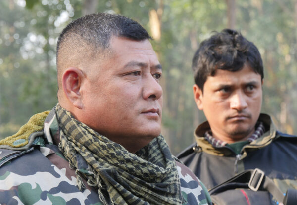 Nepalese Army at guard post. Patrols by the Nepalese army are a critical component of Nepals success in curbing poaching