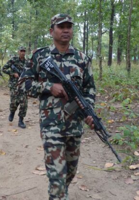 A joint team of DNPWC and Nepal army unit in patrolling